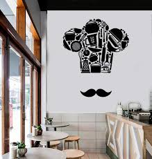 Amazon Com Wall Vinyl Decal Kitchen Cooking Chef French Hat And Mustache Pots And Pans Cool Decor For Restaurants And Stick Wall Decals Home Kitchen