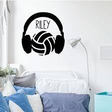 Volleyball Wall Decal Headphones Vinyl Decor Wall Decal Customvinyldecor Com
