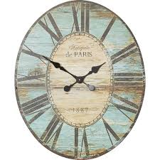 large wood wall clock oval distressed