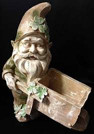leprechaun garden statue wheelbarrow