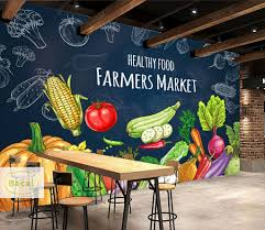 Bacal Custom 3d Wall Mural Vegetable Fruit Photo Wallpaper Food Store Supermarket Background Wall Decor Eco Friendly Painting Wallpapers Aliexpress