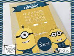 Tarjetas Invitacion Cumple Infantil Minion Villano Favorito
