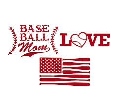 Amazon Com Wickedgoodz Custom Baseball Decal Gift Set Baseball Mom Heart American Flag Bundle Sports Sticker For Tumblers Laptops Car Windows Coach Team Gift Handmade