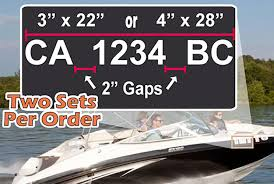 Amazon Com Custom Boat Registration Numbers Car Wall Vinyl Decals Stickers 4 X 28 Inches Home Kitchen