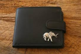 elephant leather wallet brown or black