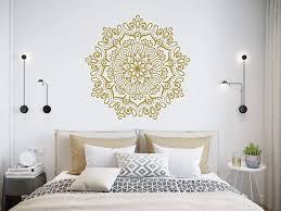 Amazon Com Mandala Wall Decal Mandala Lotus Decal Lotus Flower Wall Art Yoga Studio Decals Gold Mandala Namaste Wall Sticker Boho Bohemian Bedroom C698 Handmade