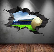 3d Football Stadium Wall Decal Cracked Full Colour Wall Art Etsy Porthole Wall Decal Sticker Wall Art Wall Art Wallpaper