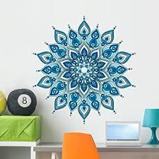 Amazon Com Wallmonkeys Decorative Blue Mandala Wall Decal Peel And Stick Graphic 36 In H X 34 In W Wm376331 Furniture Decor