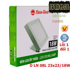 Đèn LED ốp trần vuông 18W Rạng Đông, Model D LN 08L 23x23/18w