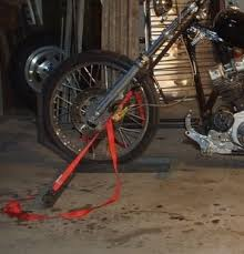homemade motorcycle wheel chock and tie