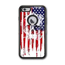 Skin Decal For Otterbox Defender Iphone 6 Plus Case U S A Flag Skull Drip Itsaskin Com