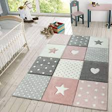 Amazon Com Kids Rug Checkered Patterned With Dots Hearts And Stars In Pastel Colors Area Rug For Childrens Room Size 5 3 X 7 7 Colour Pink Home Kitchen