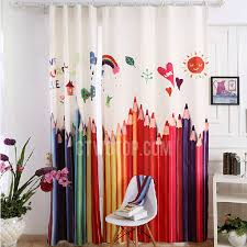 Colorful Pencil Painting Pattern Poly Cotton Blackout Curtain For Kids Room