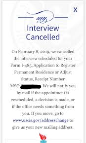 interview cancelled by uscis