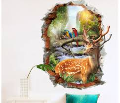 Sika Deer Head Flowers Wall Stickers Wall Decals Kids Home Decor Removable For Sale Online Ebay
