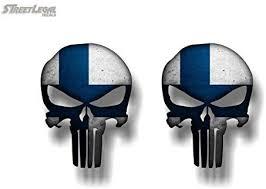 Amazon Com 2 Finland Flag Wicked Skull 5 Vinyl Decals Finnish Badass Helmet Military Car Truck 4x4 Off Road Skeleton Skulls Stickers 2 4 X 5 Decals Automotive