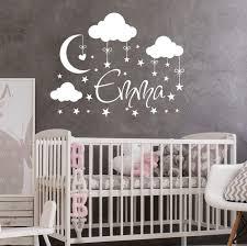 Amazon Com Nursery Name Wall Decal Girl Clouds Moon Decal Stars Nursery Decals Art Wall Vinyl Sticker Name For Girls Nursery Wall Decor Baby Girl Name Wall Decal Vs36 Handmade