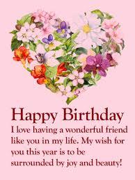 flower heart happy birthday wishes card