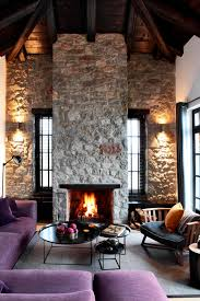 natural stone wall in modernized