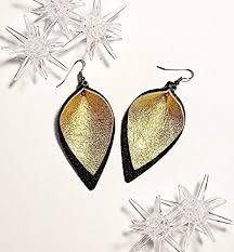 holiday gala gold leather leaf earrings