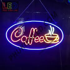 Đèn Led Neon Chữ Coffee và ly cà phê hình Oval - Coffee Neon Sign, Đèn Led  Neon Cà Phê Trang Trí Quán