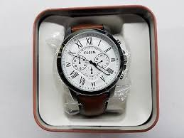 fossil grant chronograph white dial