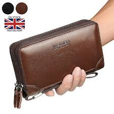mens long wallet pu leather zip large