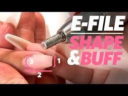 buff acrylic nails with an e file