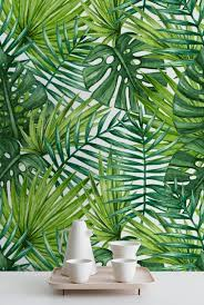 Palm Leaves Removable Wallpaper Large Laves Wall Mural Etsy Palm Leaf Wallpaper Leaf Wallpaper Tropical Wallpaper