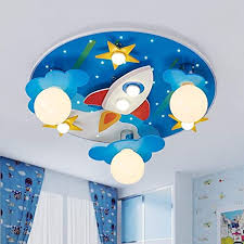 Lakiq Kids Room Modern Led Chandelier Blue Creative Flush Mount Light With Cartoon Cloud Plane Star 8 Lights Close To Ceiling Lighting Fixture For Childrens Room Bedroom Style C Amazon Com