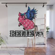 Flying Pig Wall Murals For Any Decor Style Society6