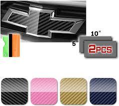 Gold Carbon Fiber Vinyl Around Bowtie Emblems Decal Sheets 2pcs For Chevrolet Furnacerestaurant Co Nz