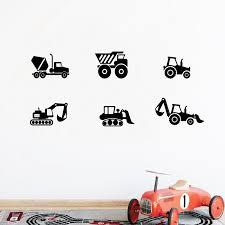 Boys Construction Vehicles Wall Art Decals Excavator Bulldozer Dump Truck Art Vinyl Stickers Boys Bedroom Wall Mural Art Decor Wall Stickers Aliexpress