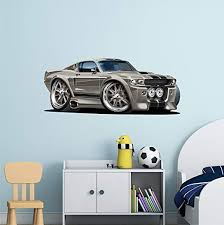 Amazon Com 48 Shelby Mustang Gt 500 Eleanor Wall Decal Ford Movable Cartoon Car 3d Sticker Mural Kids Children Mens Wall Art Home Kitchen