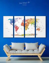 4 Panels Watercolor Travel Map Wall Art Canvas Print At Texelprintart