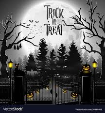 Halloween Background With Spooky Graveyard Vector Image