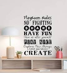 Amazon Com Playroom Rules Wall Decal Sign Play Room Quote Nursery Poster Boy Girl Vinyl Sticker Kids Lettering Children Decor Playroom Wall Made In Usa Fast Delivery Home Kitchen