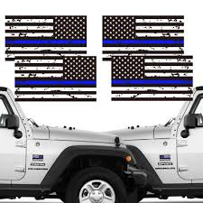 Creatrill Reflective 2 Pairs Tattered Thin Blue Line Reverse Forward Us Flag Decal Stickers For Cars Trucks Hard Hat Flag Decal Police Decal Bumper Stickers