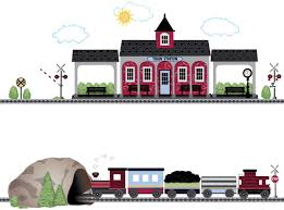 Amazon Com Train Decals Red Caboose Train Train Station And Tunnel Wall Decals With 15 Ft Straight Railroad Track Color 2 Reusable Wall Stickers Home Kitchen
