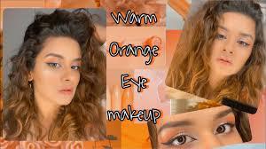 warm orange eye makeup tutorial
