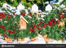 Wooden Fence Decorated Christmas Stock Photo C Deb 37 224870546
