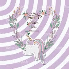 Ilustracion De Invita Tarjeta De Fiesta De Cumpleanos Con