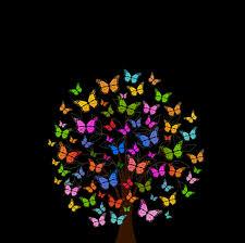 خلفية فراشة شجرة أنماط ملونة عالية الدقة عريضة عالية