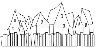 Black And White Icon Of Houses With Fences Stock Vector Illustration Of Town Village 126707050