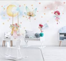 Pink Princess Flying Spirit Stars Moon 3d Cartoon Wallpaper Mural For Girls Angel Kids Room Kindergarten 3d Cartoon Wall Sticker Fabric Textile Wallcoverings Aliexpress