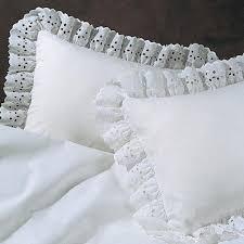 eyelet ruffled pillow sham in white or