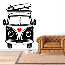 Camper Van Surf Love Wall Art Decal Vinyl Sticker Decor Rain Hibiscus