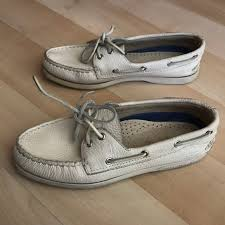 sperry shoes cream topsider pebbled