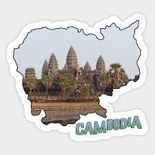 Cambodia Outline With Angkor Wat Angkor Wat Sticker Teepublic