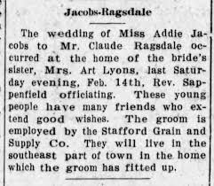 Addie (Jacobs) and Claude Ragsdale wed - Stafford Courier, Stafford, Kansas  - Feb 19 1914 - Newspapers.com